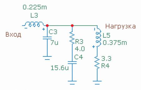 Схема фильтра с цепью Цобеля