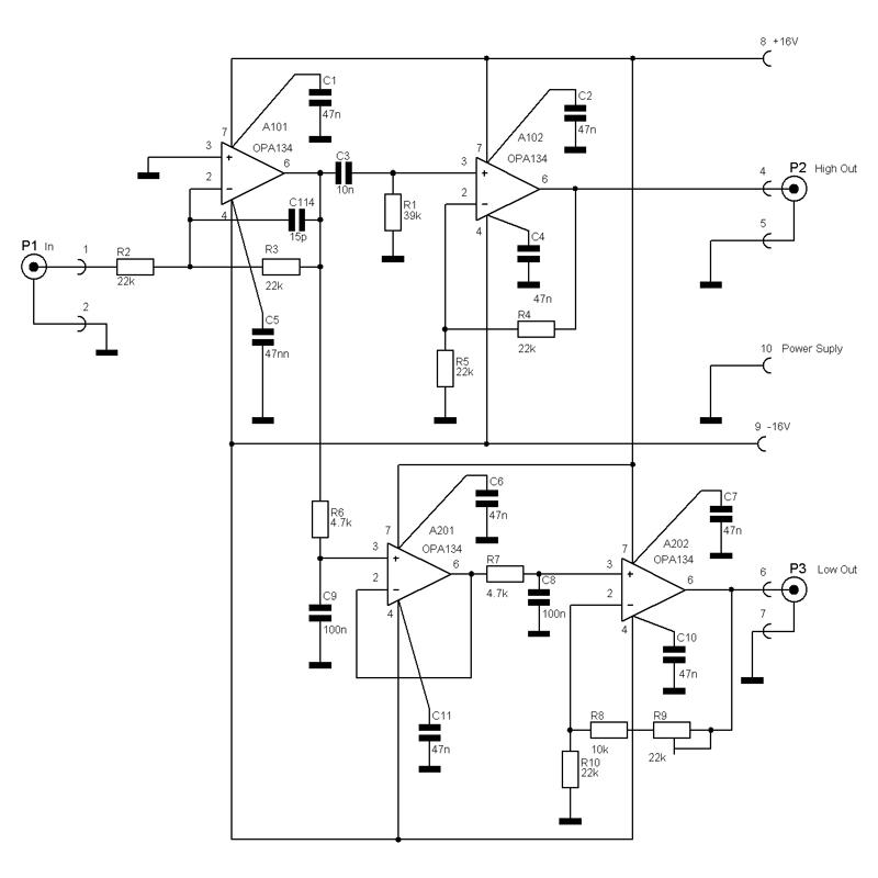 схема фильтра для трехполосной